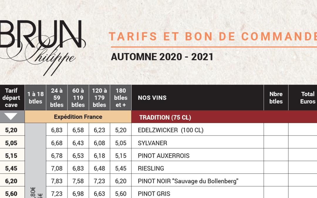 La liste de nos vins 2021